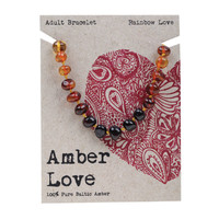 Baltic Amber Rainbow Love Adult's Bracelet 20cm