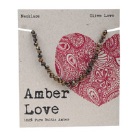 Baltic Amber Children's Necklace - Olive Love 33cm