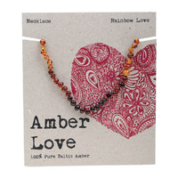 Baltic Amber Children's Necklace - Rainbow Love 33cm