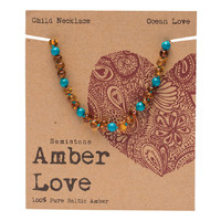 Baltic Amber Children's Necklace - Ocean Love 33cm