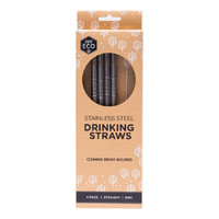 Straight Stainless Steel Straws (+Brush) x4