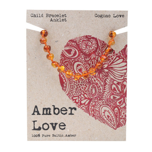 Baltic Amber Children's Bracelet - Cognac Love 14cm