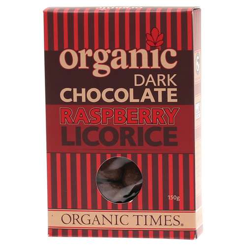 Organic Dark Choc Raspberry Licorice 150g